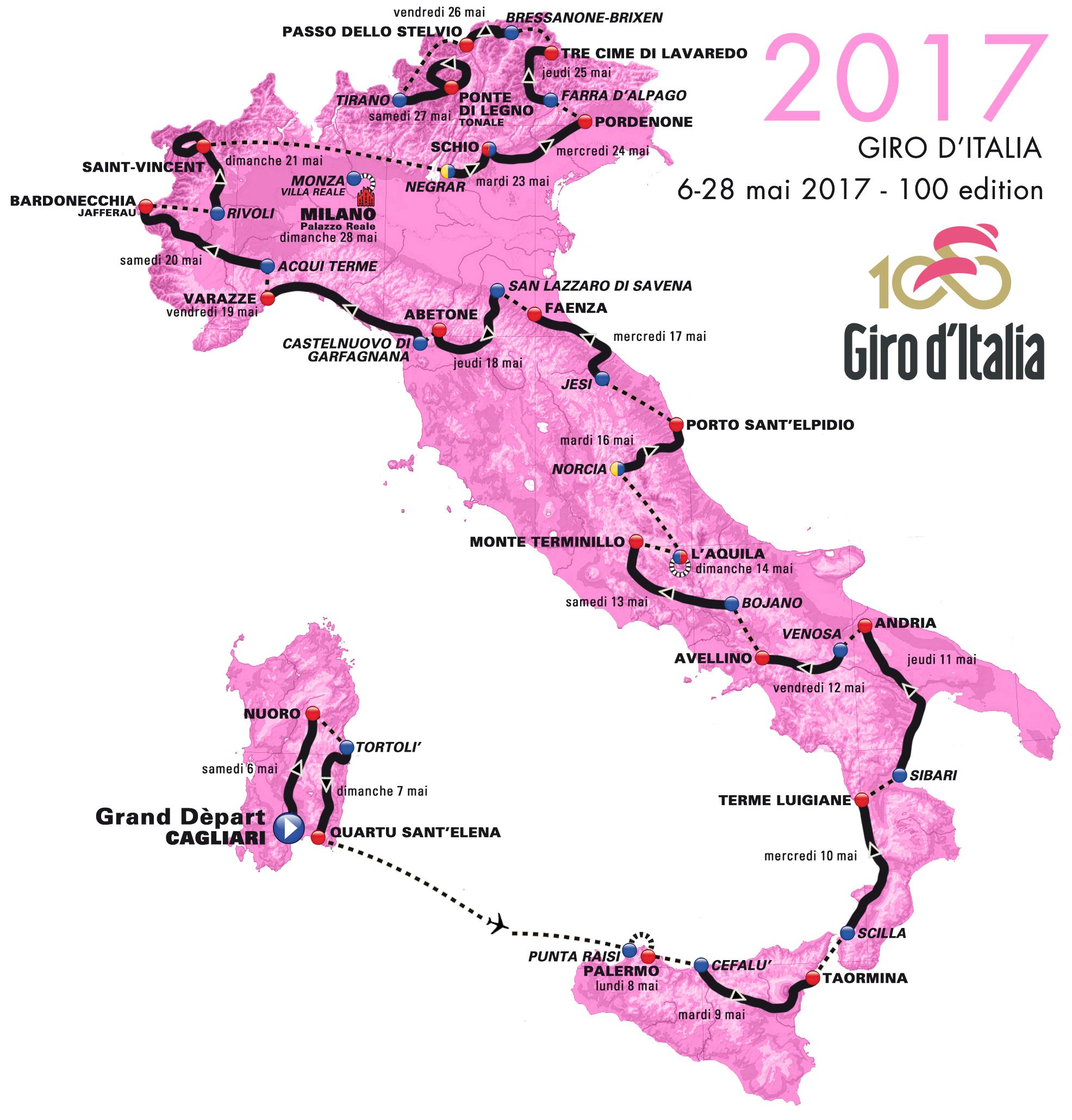 Cartina Percorso Giro D Italia 2017.Percorso Giro D Italia 2017 E Se I Francesi